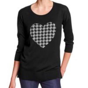 Banana Republic Black Houndstooth Heart Sweater